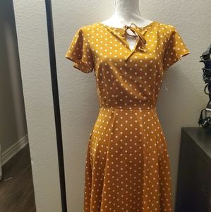 Unique Vintage mustard yellow polka-dot swing dres
